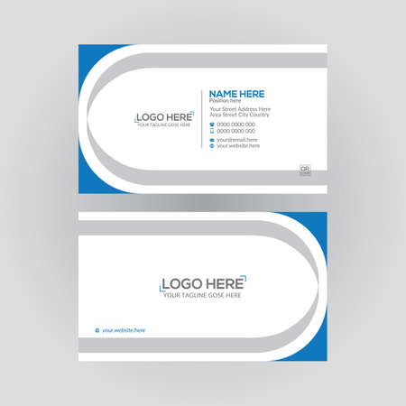 cyan colored double sided vector business card design for any kind of use