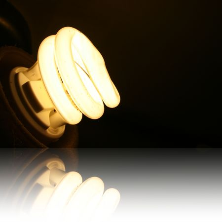 Energy Saving Lighbulb with reflection
