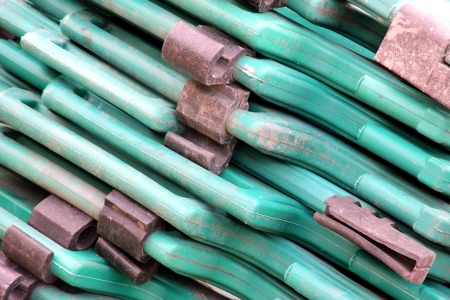 Abstract of green plastic and concrete builders barriers