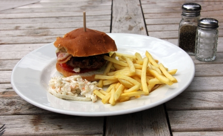 Hamburger and chips and coleslaw photo