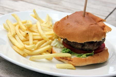 Hamburger and chips and coleslaw