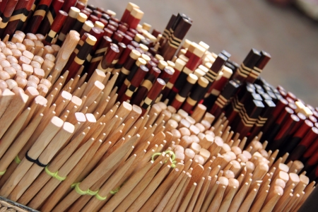 Retail, market basket of many sets of wooden chopsticks photo