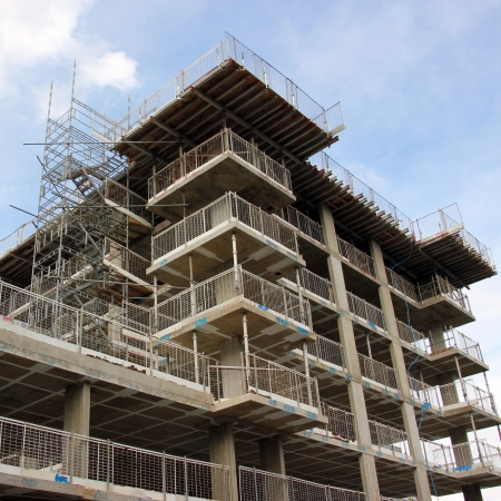 Metal and wood Scaffolding structures in construction site