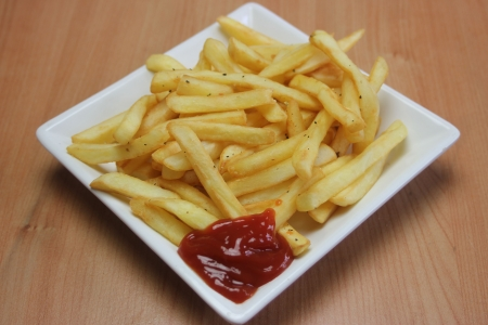 Square Ceramic Plate of Cooked french fries