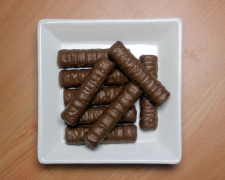 Plate of chocolate fingers