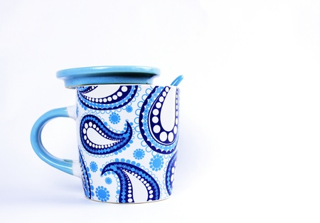 White and Blue Paisley pattern Ceramic Tea or Coffee mug with ceramic Spoon