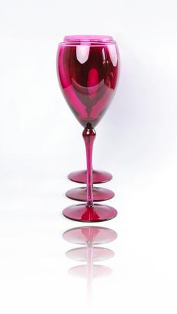 Set of tall Pink Elegant Wine Glasses