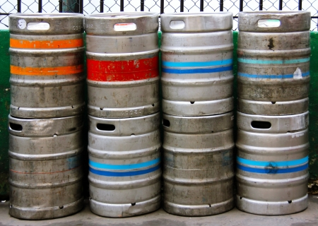Stack of Beer Kegs one on top of another photo