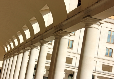 Perspective view of external market place shopping mall columns