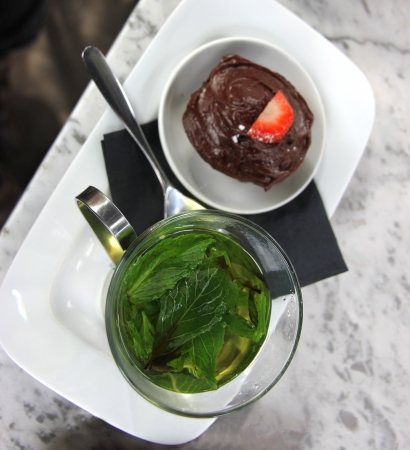 Green leaf Mint Tea in a glass Tea mug or cup Stock Photo