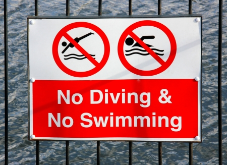 No Swimming and no diving red sign Stock Photo