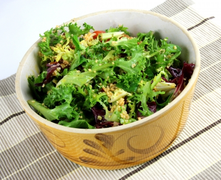 A Yellow Bowl of Healthy leafy Salad