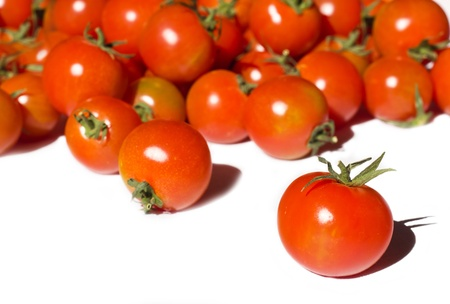 Ripe tomatoes on the white background Stock Photo - 12653570