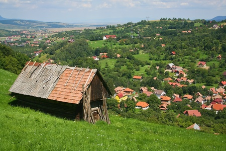 lonely hut in Carpathian mountains photo