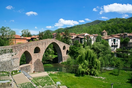 Beautiful view of small town in Catalonia - Sant Joan De Les Abadesses photo