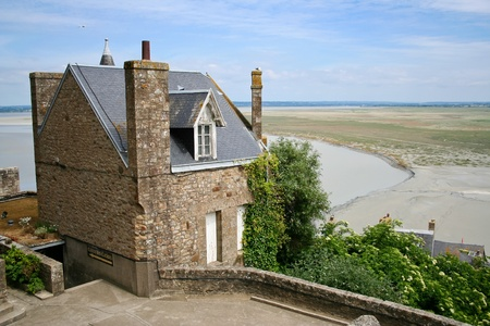 Famous monastery Mont Saint Michel in Normandy, France photo
