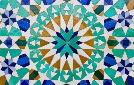 mosaic art: ceramic tile with east pattern  Stock Photo