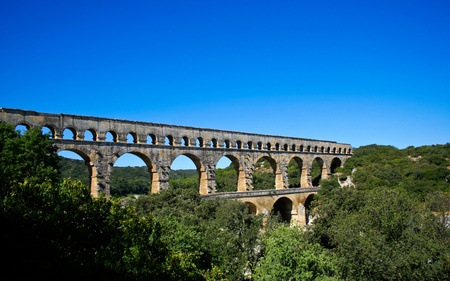 monument historical monument: Pont du Gard - Roman aqueduct in southern France near Nimes