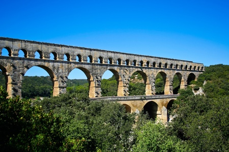 Pont du Gard - Roman aqueduct in southern France near Nimes Stock Photo