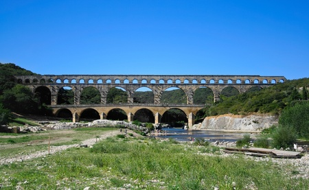 aqueduct: Pont du Gard - Roman aqueduct in southern France near Nimes Stock Photo