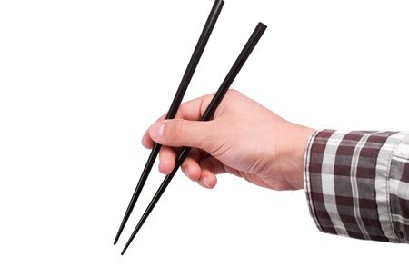ability: Hand with chopsticks isolated on white background