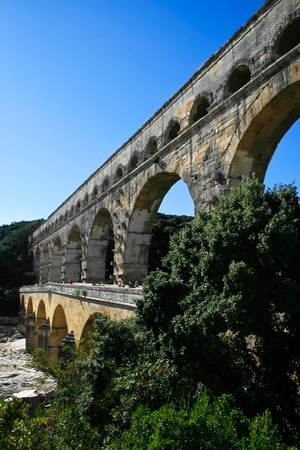 Pont du Gard - Roman aqueduct in southern France near Nimes   Stock Photo - 13593195