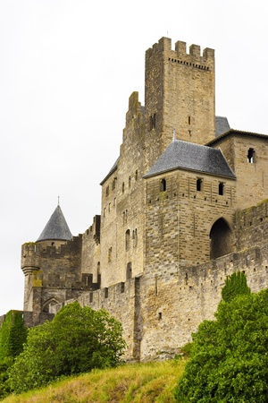 beautiful view of old town of Carcassone in France Stock Photo