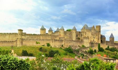prachtig uitzicht over de oude stad van Carcassone in Frankrijk Stockfoto