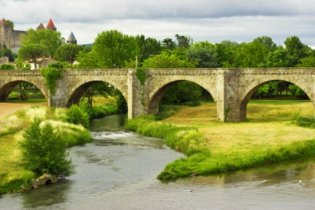 beautiful view of old bridge in Carcassonne, France  photo
