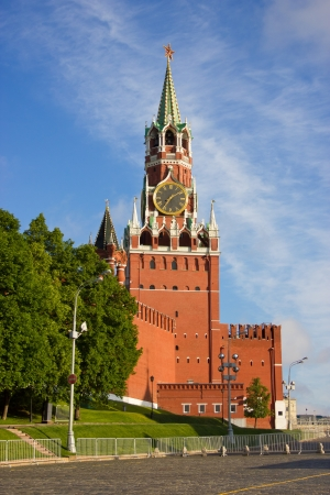the place is important: Moscow Kremlin towers at the morning light