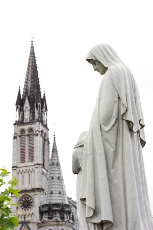apparition: center of pilgrimage to famous cathedral in Lourdes, France