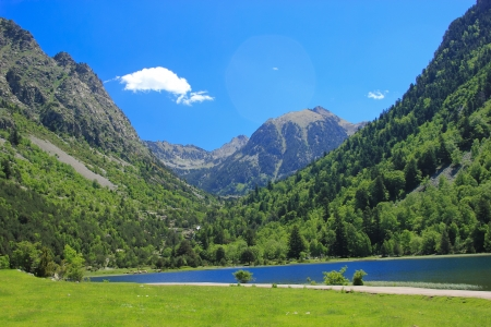 traditional climbing: lake Llebreta in national park Aiguestortes i estany de Sant Maurici