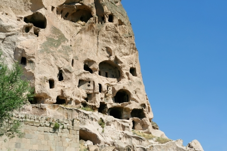 amazing view of caves in Ihlara Valley in Cappadocia photo