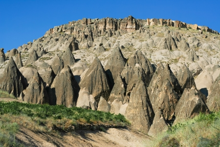stone volcanic stones: amazing view of Ihlara valley in Cappadocia  Stock Photo