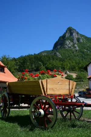 Old wooden cart full of flowers near the mountains Stock Photo - 15162987