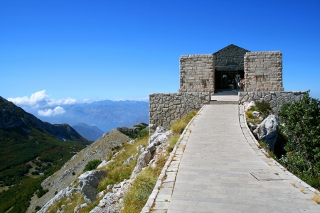 mausoleum: Mausoleum on the top of mountain in national park Lovcen, Montenegro Stock Photo