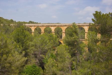 ensemble: Beautiful view of roman Aqueduct Pont del Diable in Tarragona