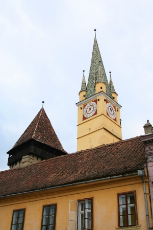 beautiful church in Medias, small town in Romania photo