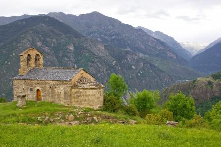 romanesque: romanesque church of Sant Quirc de Durro in Vall de Boi Stock Photo