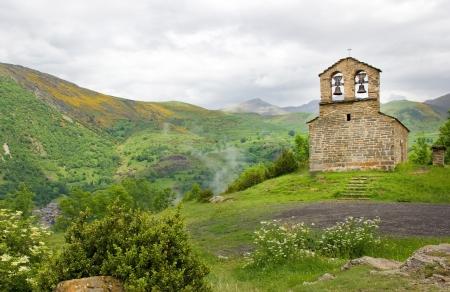 romanesque church of Sant Quirc de Durro in Vall de Boi Stock Photo