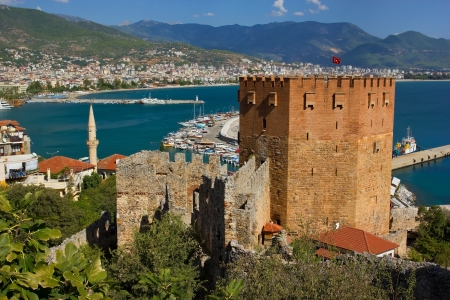Kizil Kule  Red Tower  - main tourist attraction in Alanya, Turkey Stock Photo