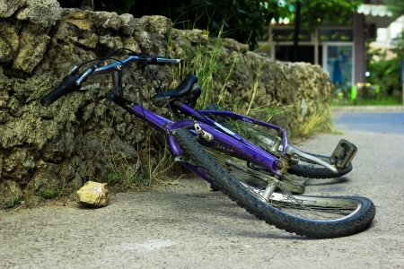deformation of bicycle after accident on the street