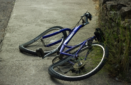bike wheel: deformation of bicycle after accident on the street