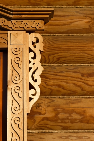 wood pillars: Traditional art of wood carving in russian village
