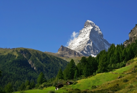 traditional climbing: peaceful view on Matterhorn - famous mount in Swiss Alps