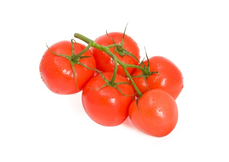 domates: Red ripe tomatoes isolated on white background