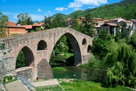 sant joan de les abadesses: view of small town in Catalonia - Sant Joan De Les Abadesses  Stock Photo
