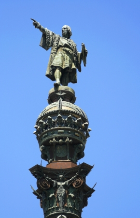 Statue of Christopher Columbus in Barcelona, Spain photo