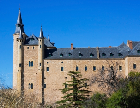 segovia: View of Alcazar in the center of Segovia, Spain Stock Photo