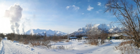 snow field: winter view of the nature in Kamchatka Stock Photo